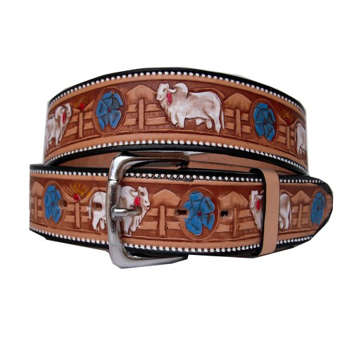 Belt decorated bull cebu 40 mm
