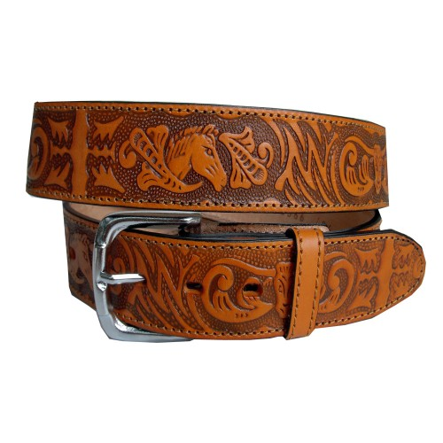 Belt engraved bull head 40 mm