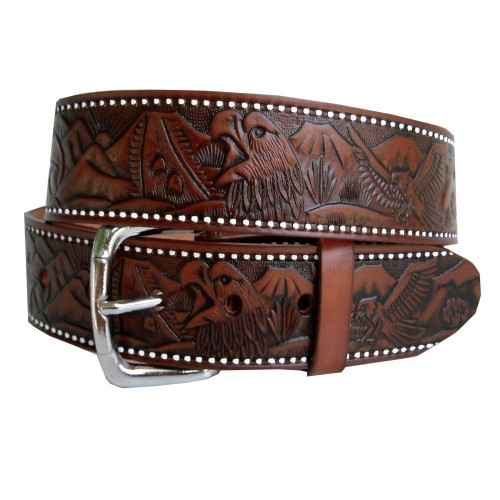 Eagle and volcano engraved belt 40 mm