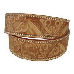 Horse head engraved belt 40 mm