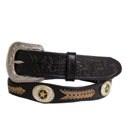 Belt ebony knitted arrow gold concho 40mm