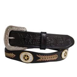 Belt ebony knitted arrow gold concho 40mm